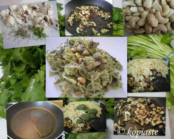 collage farfalle with cilantro preparation image