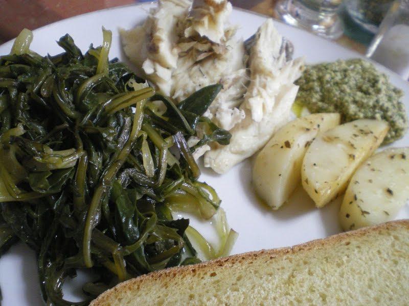 Lavraki, Stamnaggathi, Roasted Potatoes and Greek style Oregano Pesto