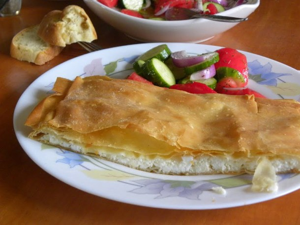 Tyropita (cheese pie) with Horiatiko phyllo image