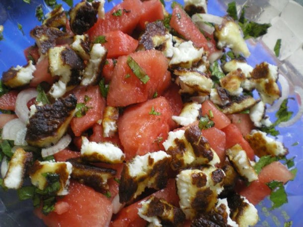 watermelon salad with baked halloumi image