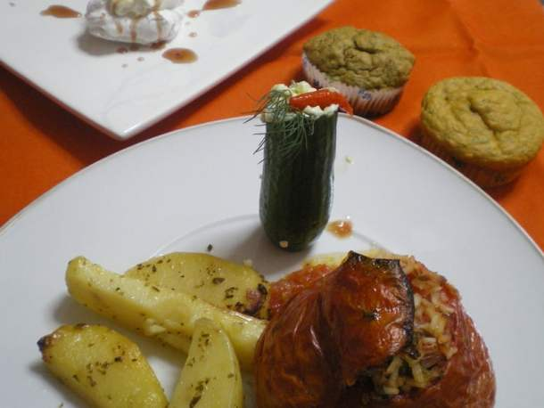 Gemista healthy three course meal image