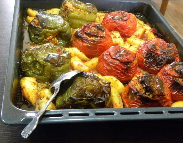 Gemista stuffed tomatoes and peppers image