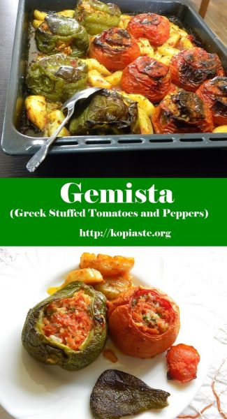 collage gemista with tomatoes and peppers