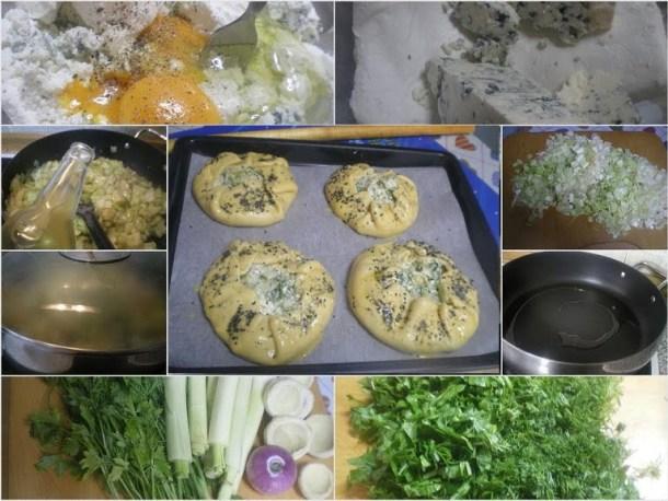 Collage Leek and artichoke galette