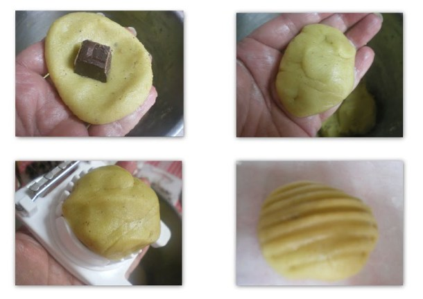 collage preparation of Melomakarona with chocolate before baking image