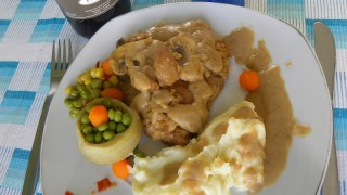 Veal Escaloppes with Chestnuts in a brandy and orange sauce