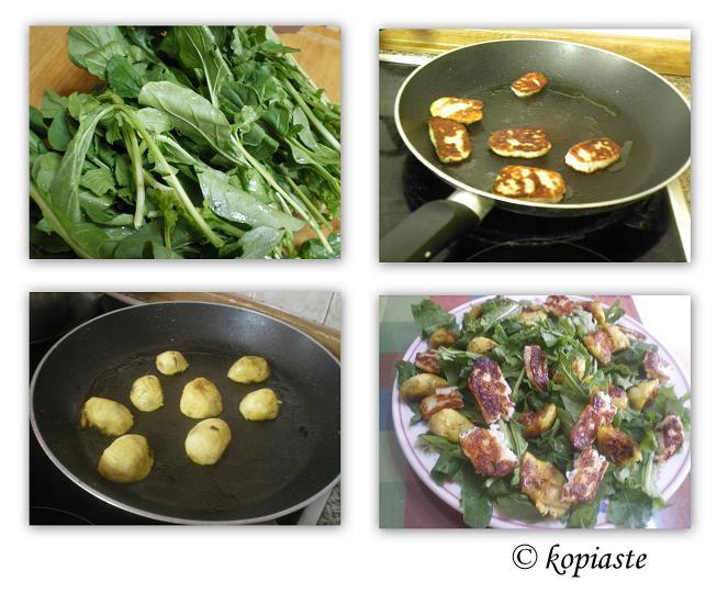 Collage Rocket, fig and halloumi salad