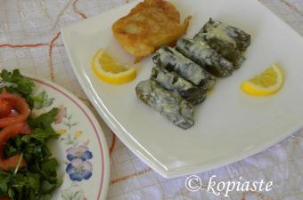 Dolmadakia Bakaliarou (Dolmades with Cod Fillets)