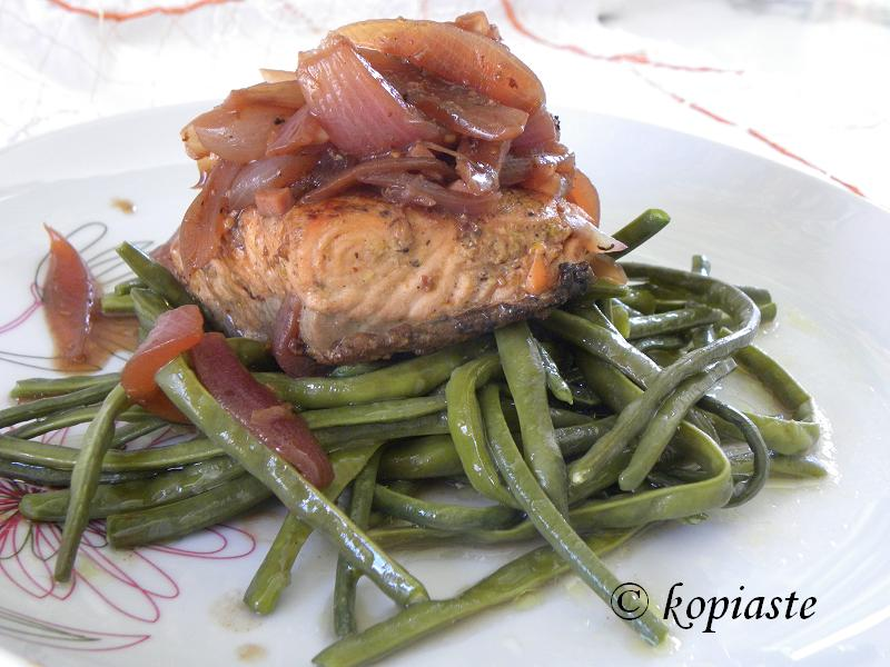Solomos Stiffado (salmon stew with onions) and 4 years blog anniversary
