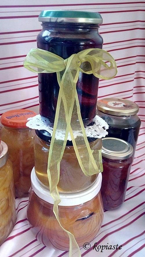 Jars of fruit preserves image