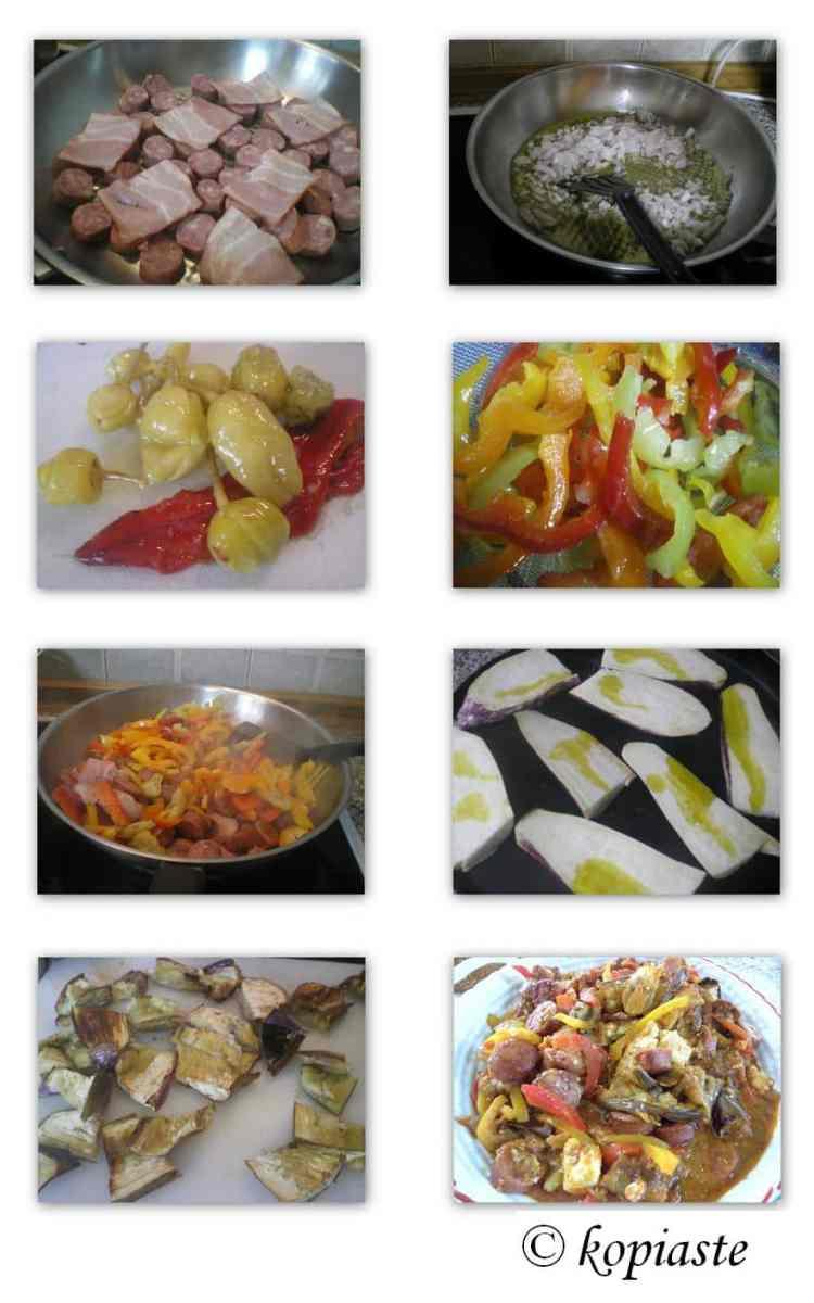 Collage Spetzofai with eggplants
