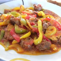 Easy Spetzofai (Spicy Mezes with Sausages) with My Spicy Sauce