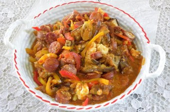 spetzofai with peppers and eggplant image