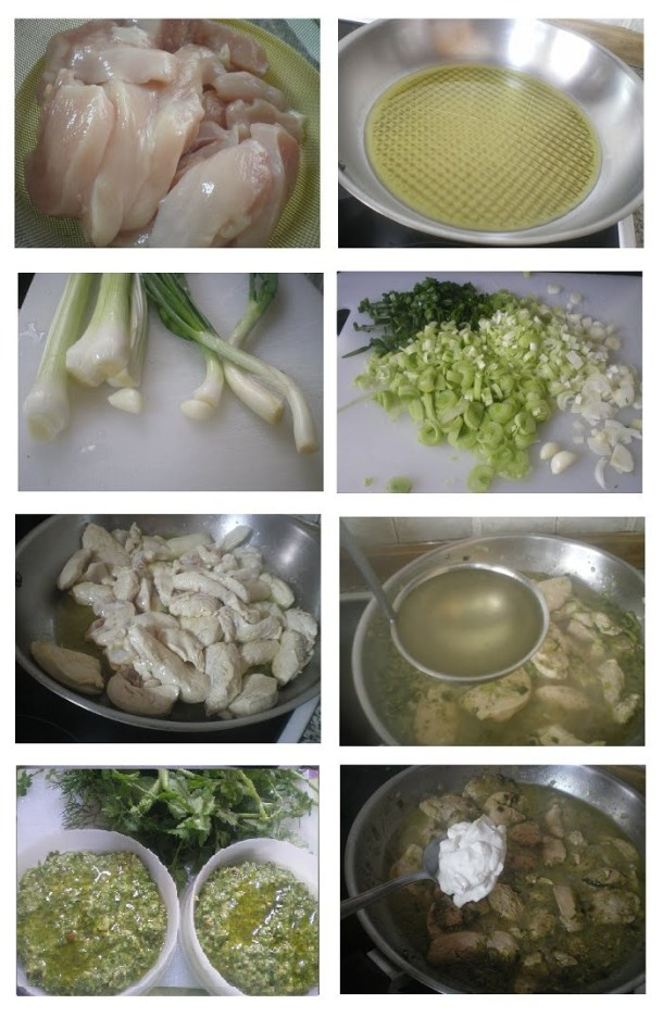 collage chicken with leeks image