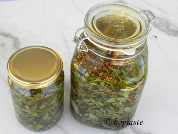jars with pickled purslane