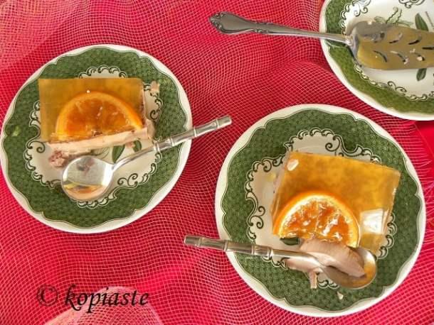 Layered dessert with spartan orangade