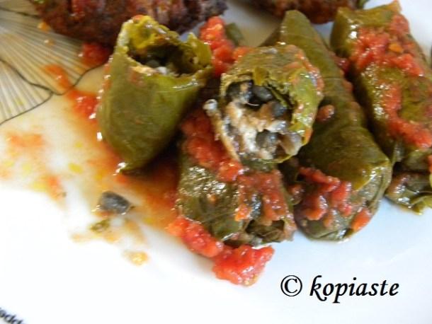 Dolmas with sardines opened