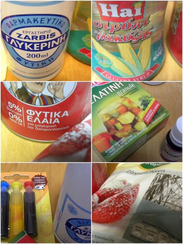 Collage ingredients for sugarpaste image