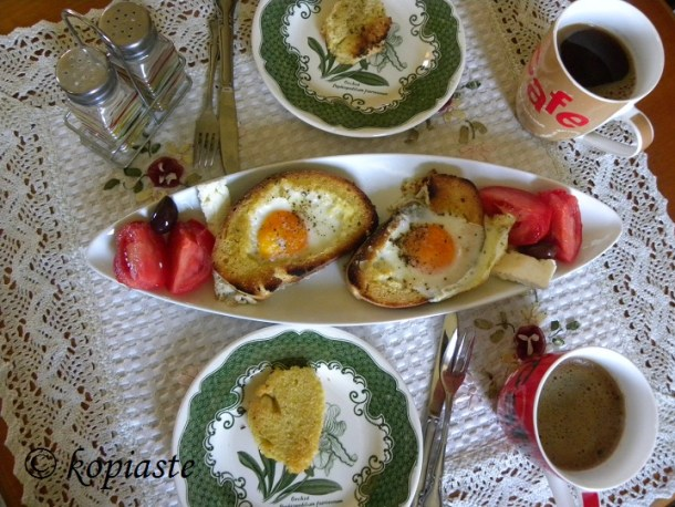 Brunch with Bread and Eggs