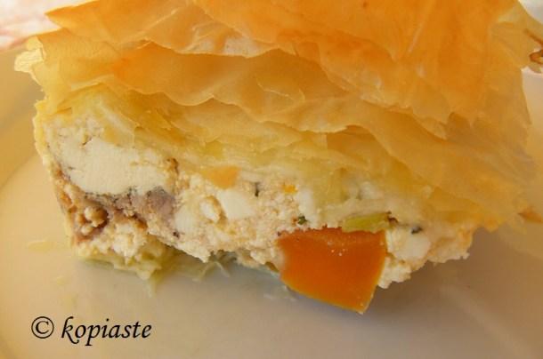 Kotopita chicken pie close up
