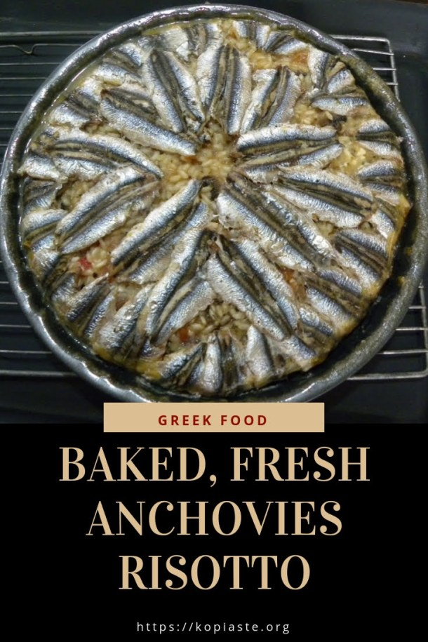 Collage baked anchovies risotto image