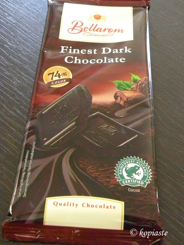 Dark chocolate 74 percent cocoa