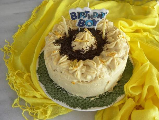French Buttercream Coffee flavoured white chocolate pate a bomb with gold leafs image