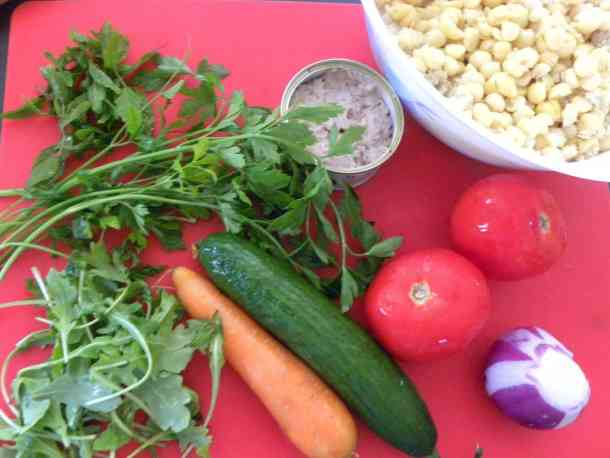 Ingredients for chickpea salad image