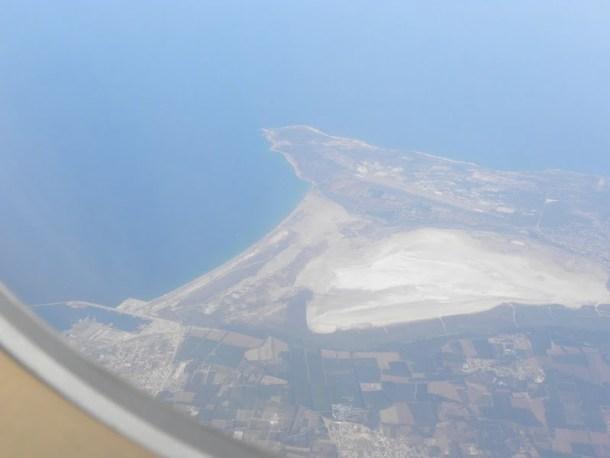 Sea Lake in Akrotiri from airplane image