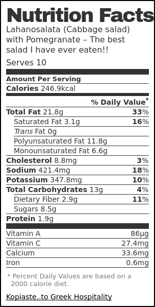 Nutrition label for Lahanosalata (Cabbage salad) with Pomegranate – The best salad I have ever eaten!!