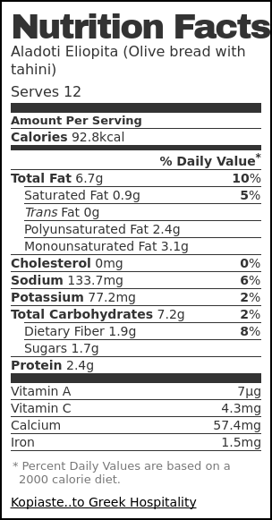 Nutrition label for Aladoti Eliopita (Olive bread with tahini)