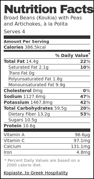 Nutrition label for Koukia, Fava Beans, the Greek way