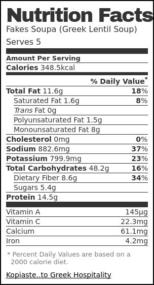 Nutrition label for Fakes Soupa (Greek Lentil Soup)