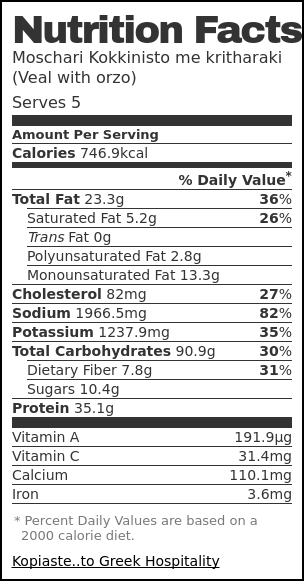 Nutrition label for Moschari Kokkinisto me kritharaki (Veal with orzo)