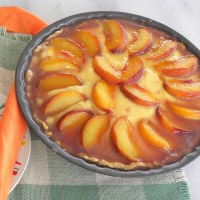 Caramelized Peach Custard Tarte Tatin