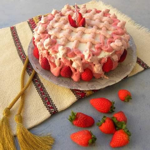 Strawberry Bavarian Cream Cake