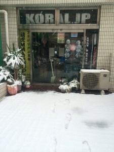 雪の日の店舗前