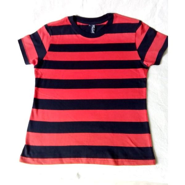 T-shirt Rayé Rouge et Noir
