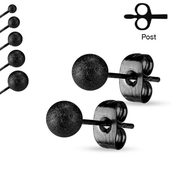 Clous pour Oreilles Boule Noire 7mm