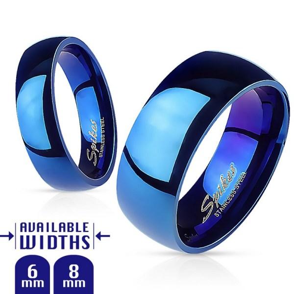 Bague acier bleu brillant façon miroir