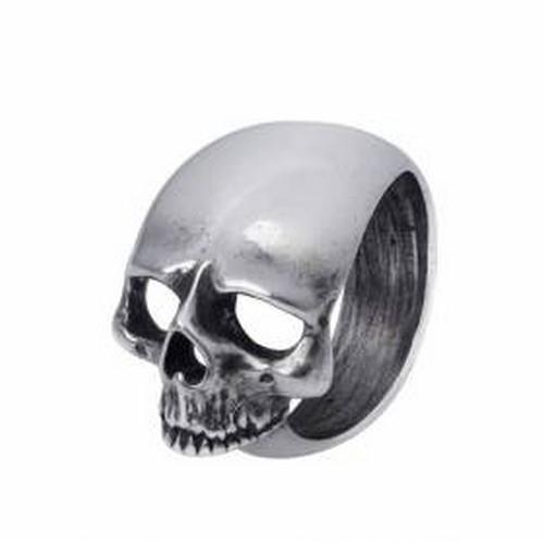 Bague Crâne latéral en Etain Fait Main en Angleterre