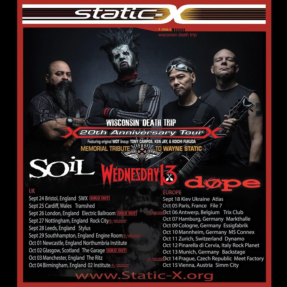 Concert Static-X Wednesday 13 Dope Soil