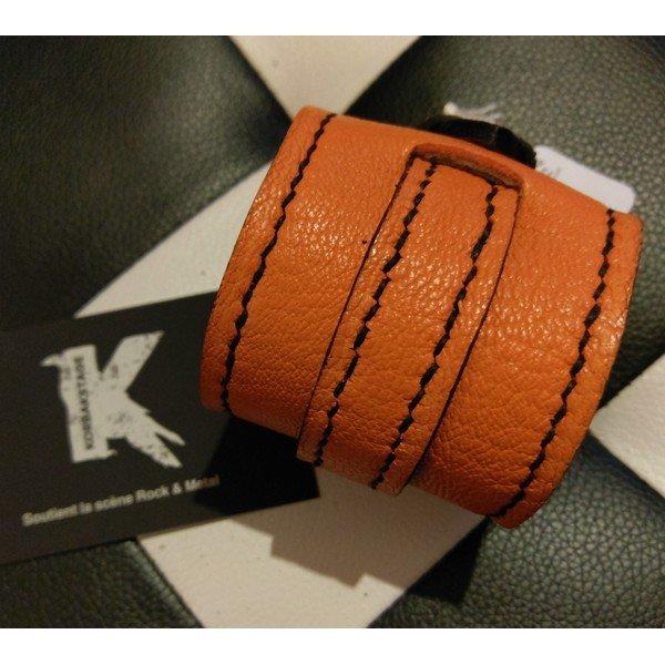 Bracelet de Force Cuir Orange Black