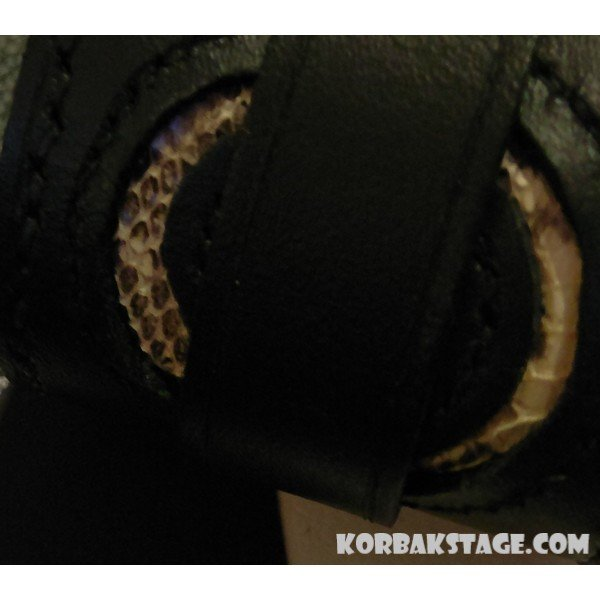 Bracelet de Force Serpent Cuir Noir Artisanal KorbaKStage