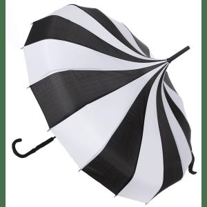 Parapluie Pagode Noir et Blanc Vintage Gothique