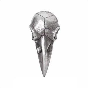 Miroir Crâne Corbeau Argent en Résine
