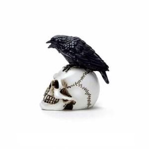 Miniature Corbeau sur Crâne en Résine