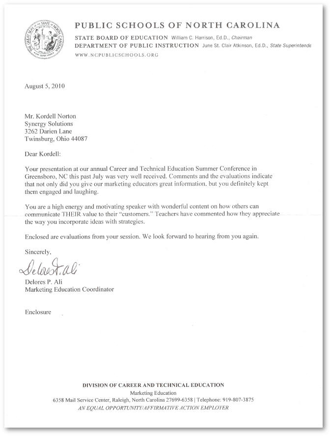 Reference Letter for Kordell Norton from the North