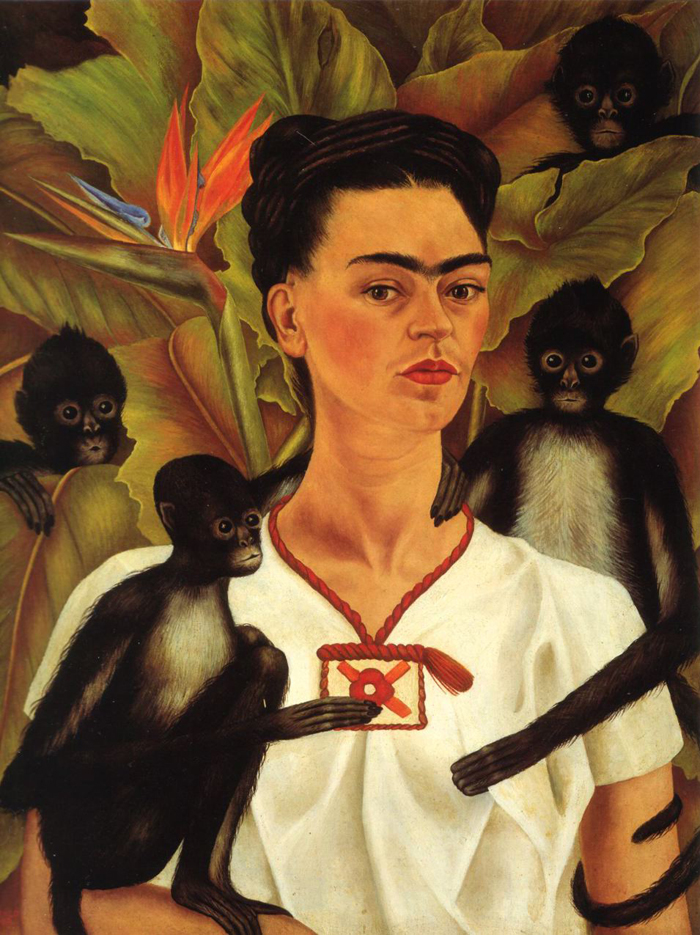 Frida Kahlo's 'Self-Portrait With Monkeys' (1943).