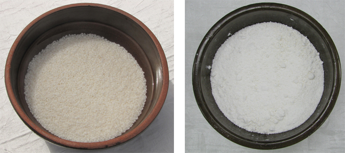 1. Wash regular rice and soak it overnight. (left) 2. Grind the rice.